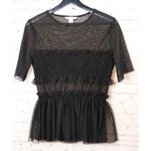 H&M's black transparent blouse